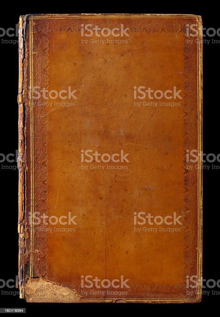 Old Leather Book Cover. Clipping Path, Black Background. stock photo