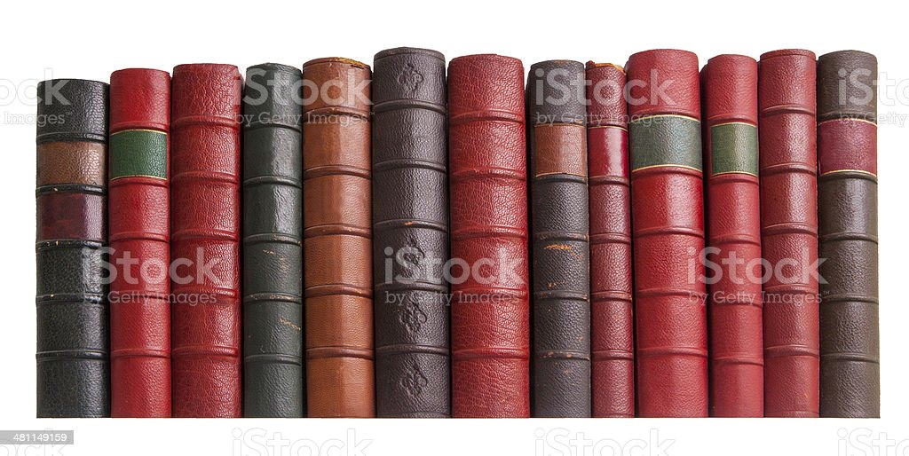 old leather books isolated slight low angle royalty-free stock photo