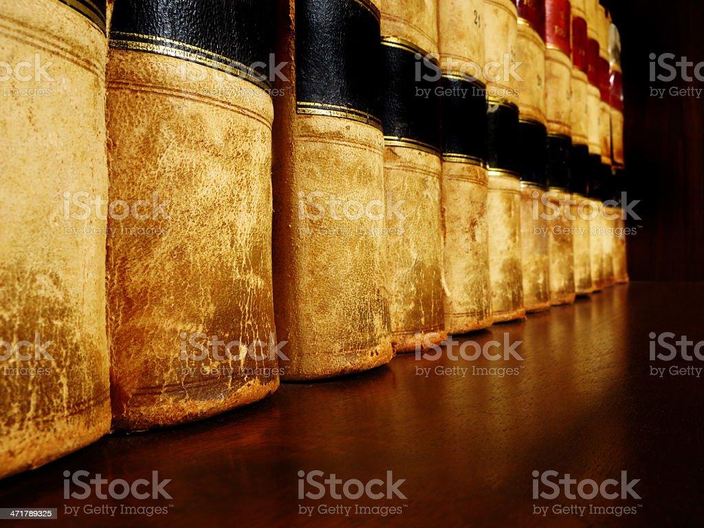 Old Leather Books on Shelf royalty-free stock photo