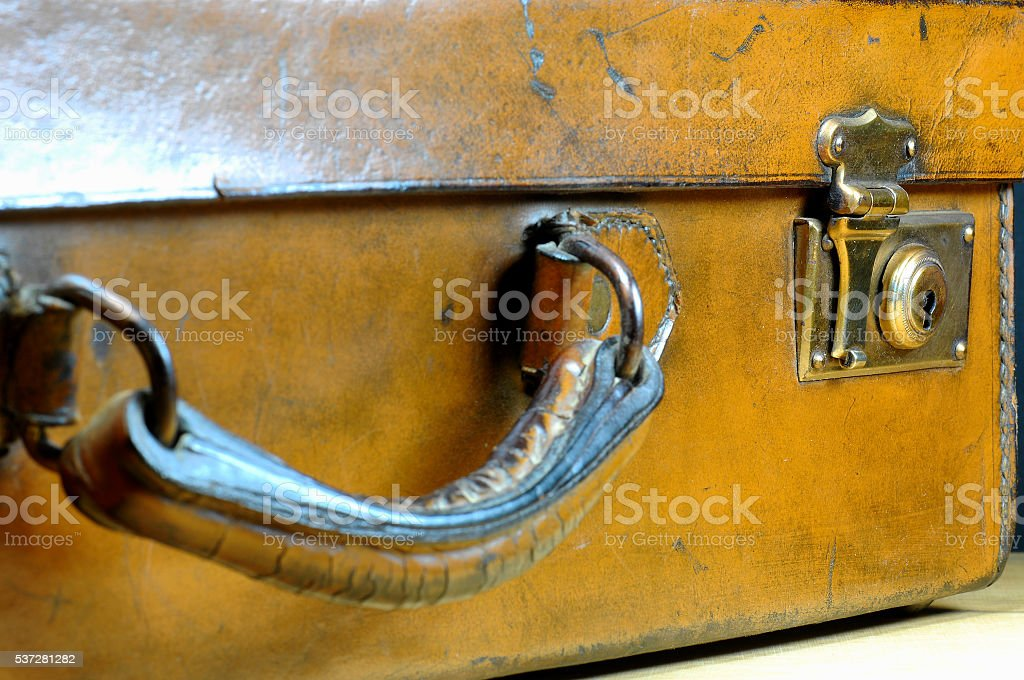 Old leather briefcase. 40s. Selective focus. stock photo