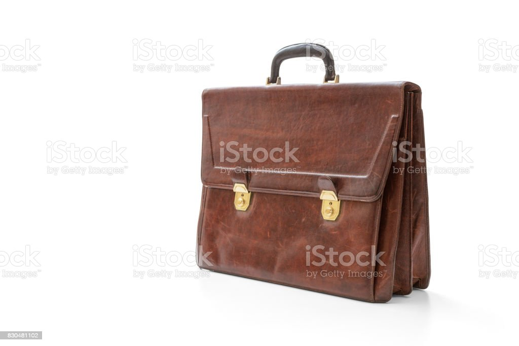 Old leather briefcase stock photo