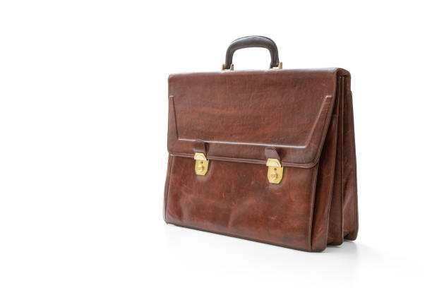 Old leather briefcase - foto stock