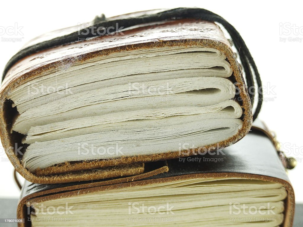 Old leather note book stock photo