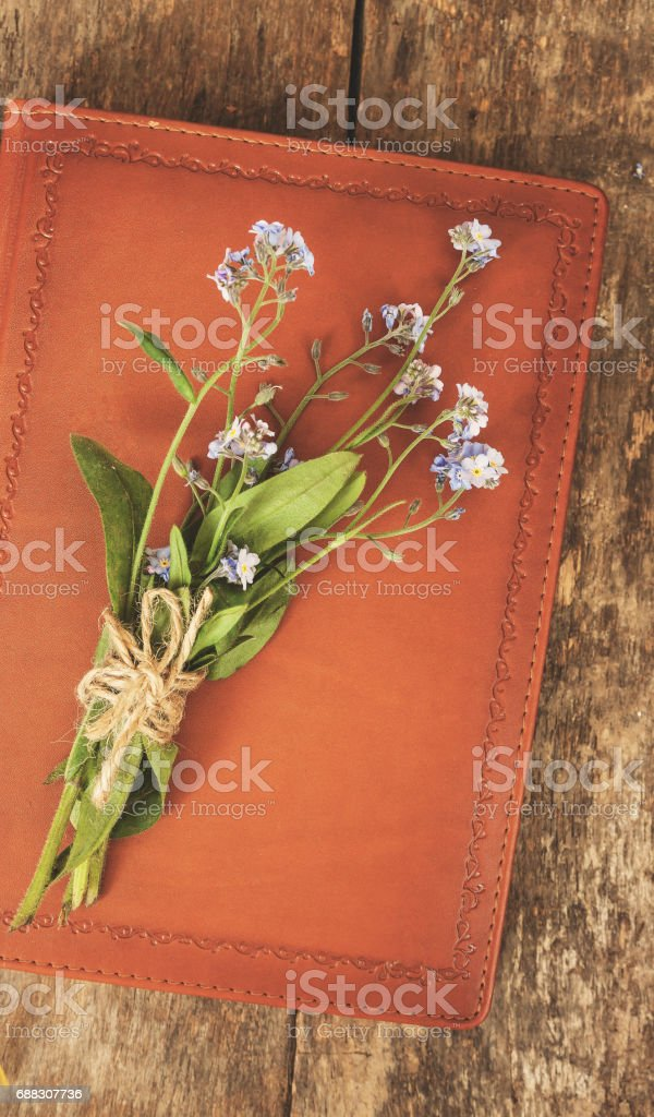 Old Leather Notebook Book It Is A Bouquet Of Flowers Forgetmenots ...