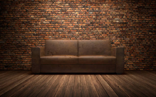 Old Leather Sofa In Empty Room With Brich Wall 3d Rendering ...