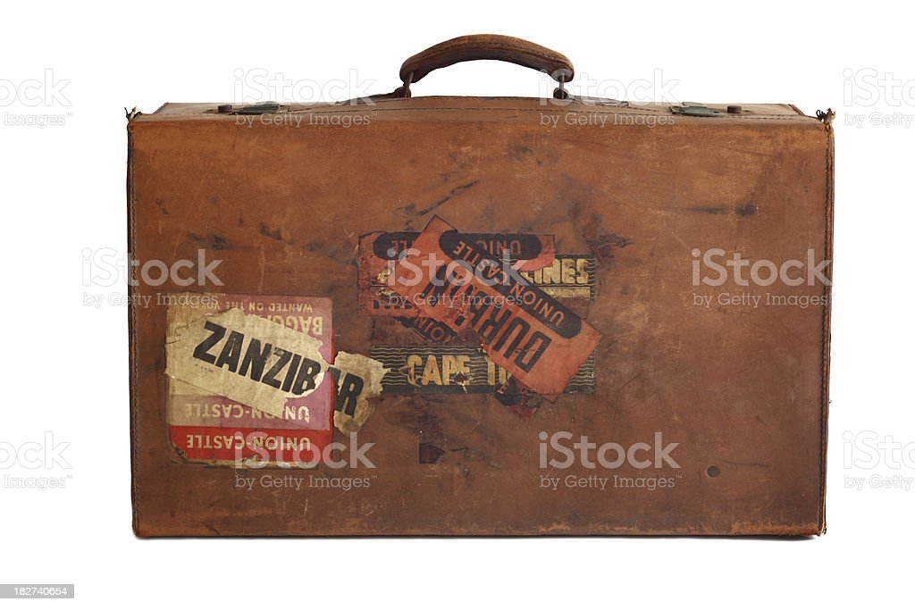 Mala com adesivos de couro velho - foto de acervo