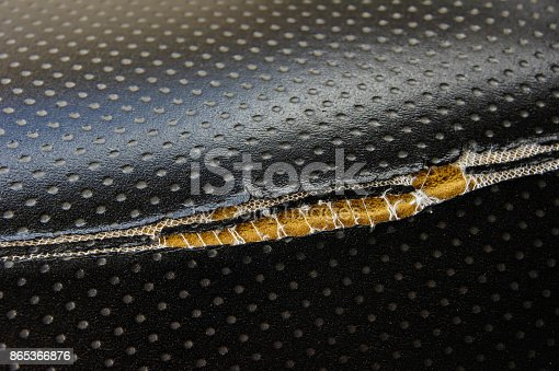 istock Old leather upholstery Leather upholstery lack 865366876
