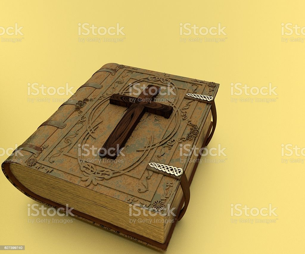 Old Leather-Bound Bible and Cross stock photo
