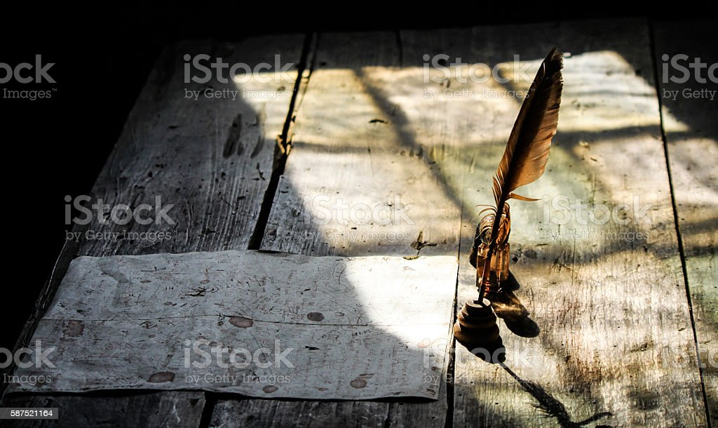 old letter in a monastery stock photo