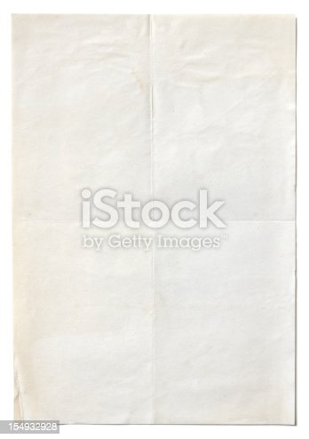 Old stained paper with shadow isolated on white