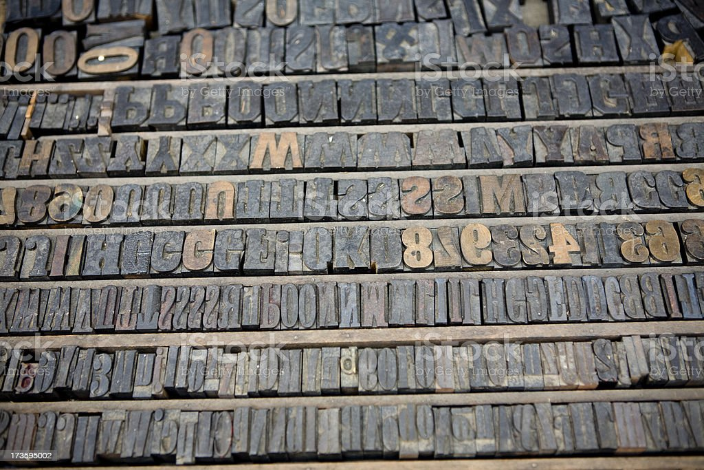 Old letter press numbers and alphabet stock photo