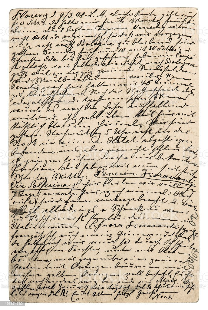Old letter with handwritten text. Grunge texture background stock photo