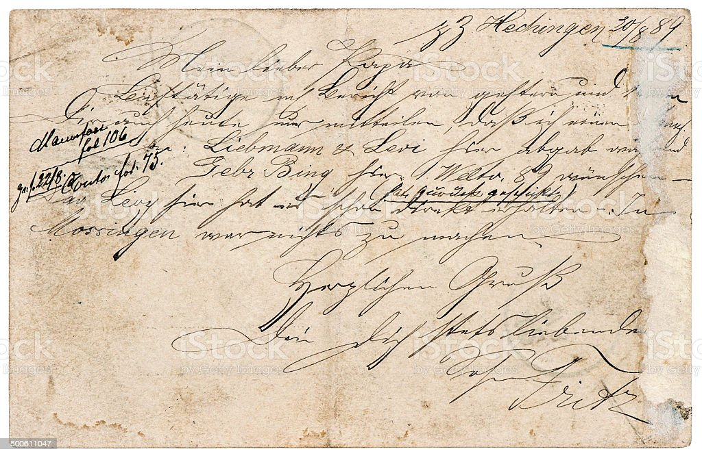 old letter with handwritten text stock photo