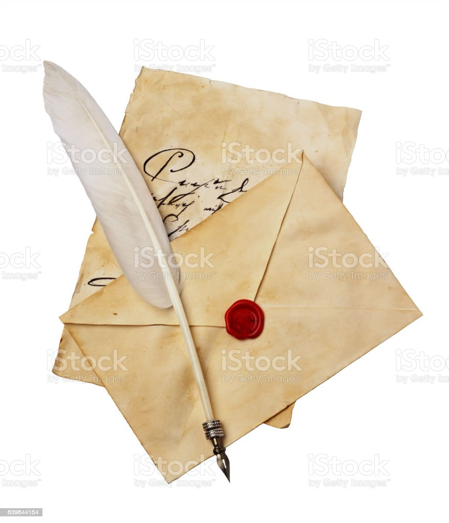 Old letter with vintage handwriting, envelope and feather pen - foto de acervo