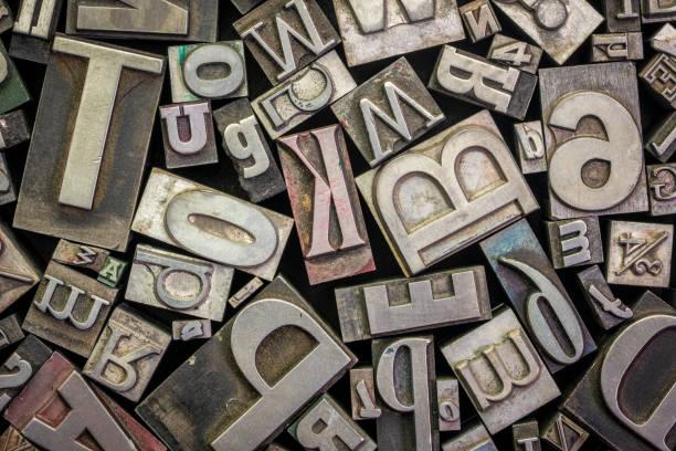 old letterpress metal type printing blocks stock photo