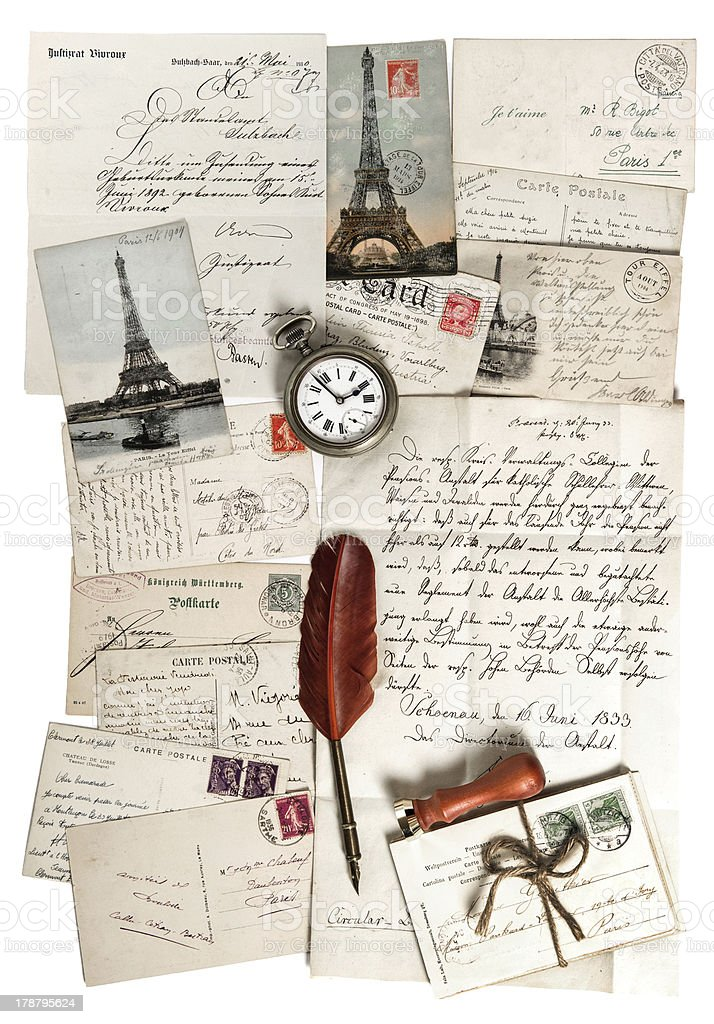 old letters, accessories and post cards royalty-free stock photo