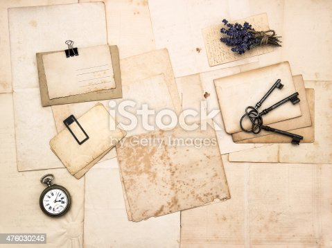 istock old letters and photos, vintage accessories 476030245