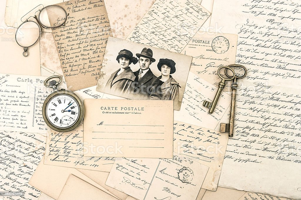 old letters and postcards, antique accessories and photo stock photo
