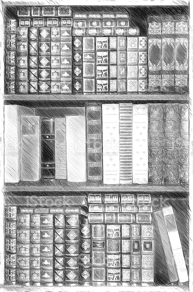 Old Library Cover Books On Shelves Illustration In Draw Royalty Free Stock Photo