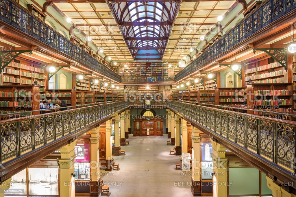 Old library interior stock photo