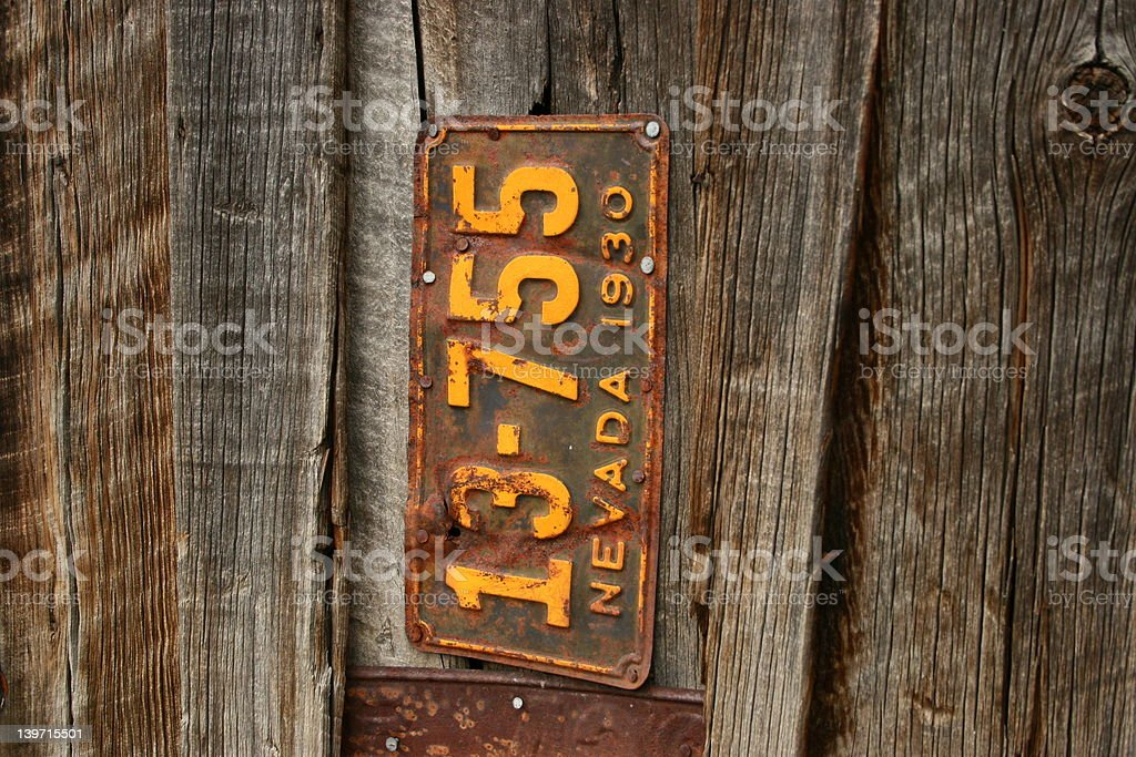 old license plate royalty-free stock photo