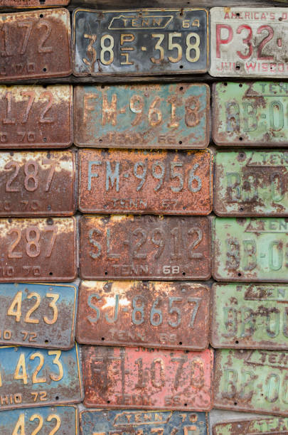 Old License Plates stock photo