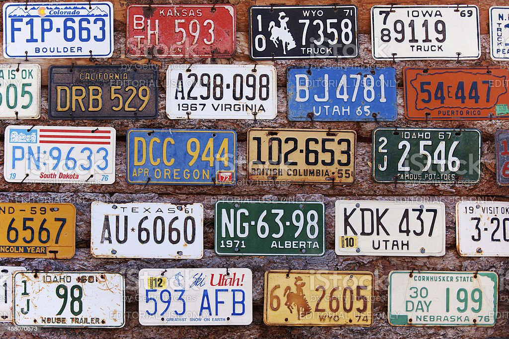 Old license plates royalty-free stock photo