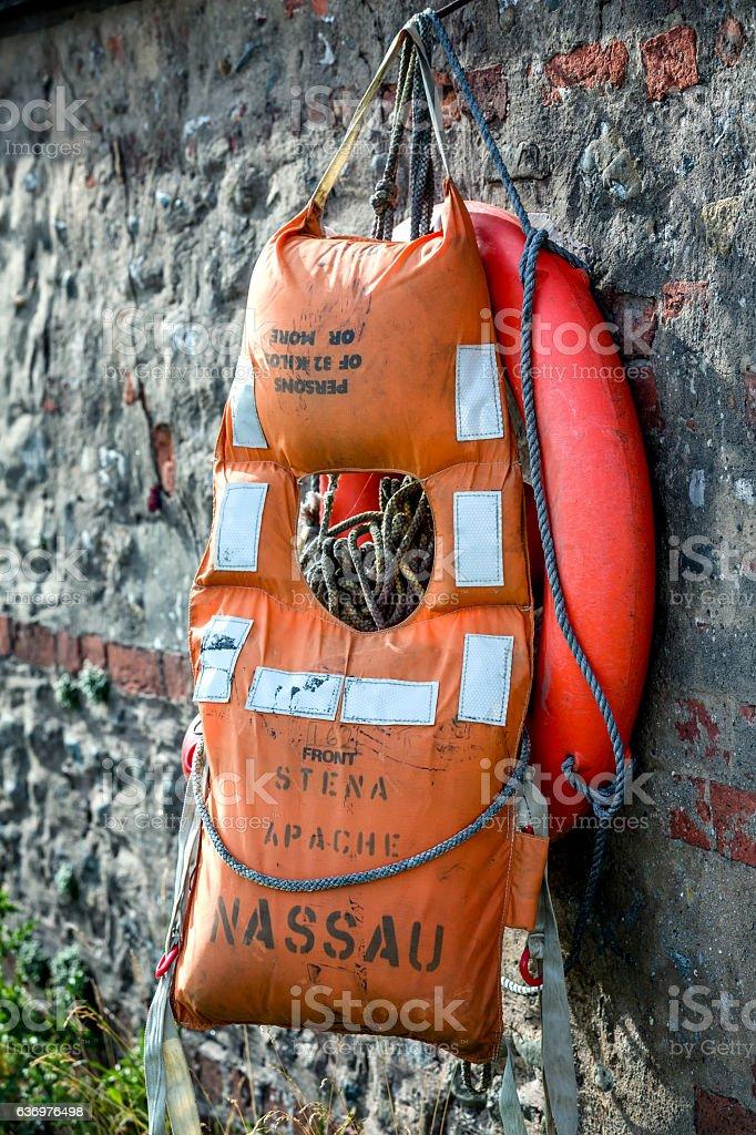 old life jacket stock photo