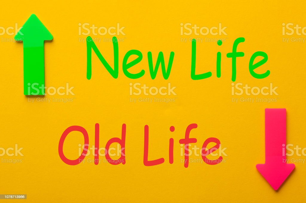 Old Life and New Life. New life concept, dieting, healthy lifestyle...