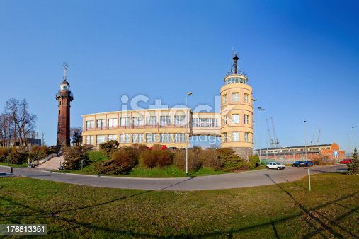 istock Old lighthouse and harbor master's office 176813351