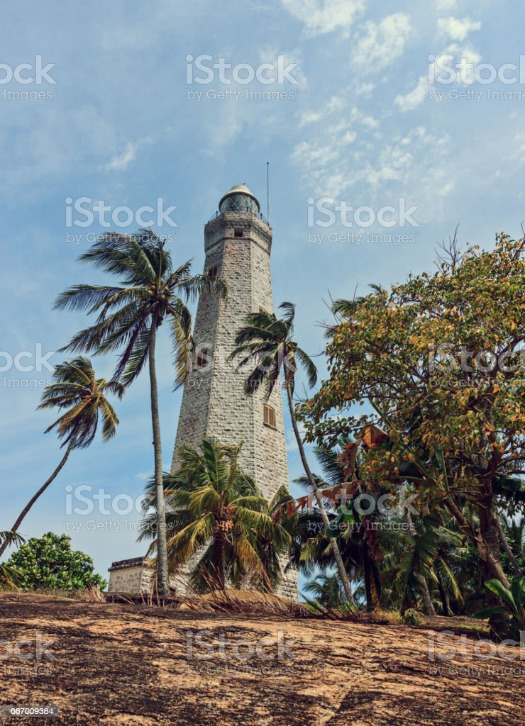 Old lighthouse at the south point of Sri Lanka stock photo