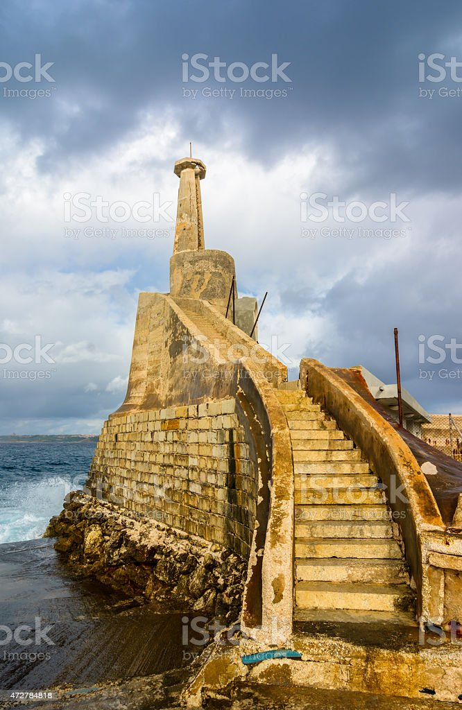 Old lighthouse in Malta stock photo