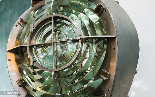 172424642 istock photo Old Lighthouse lamp with lens, close-up 627088592