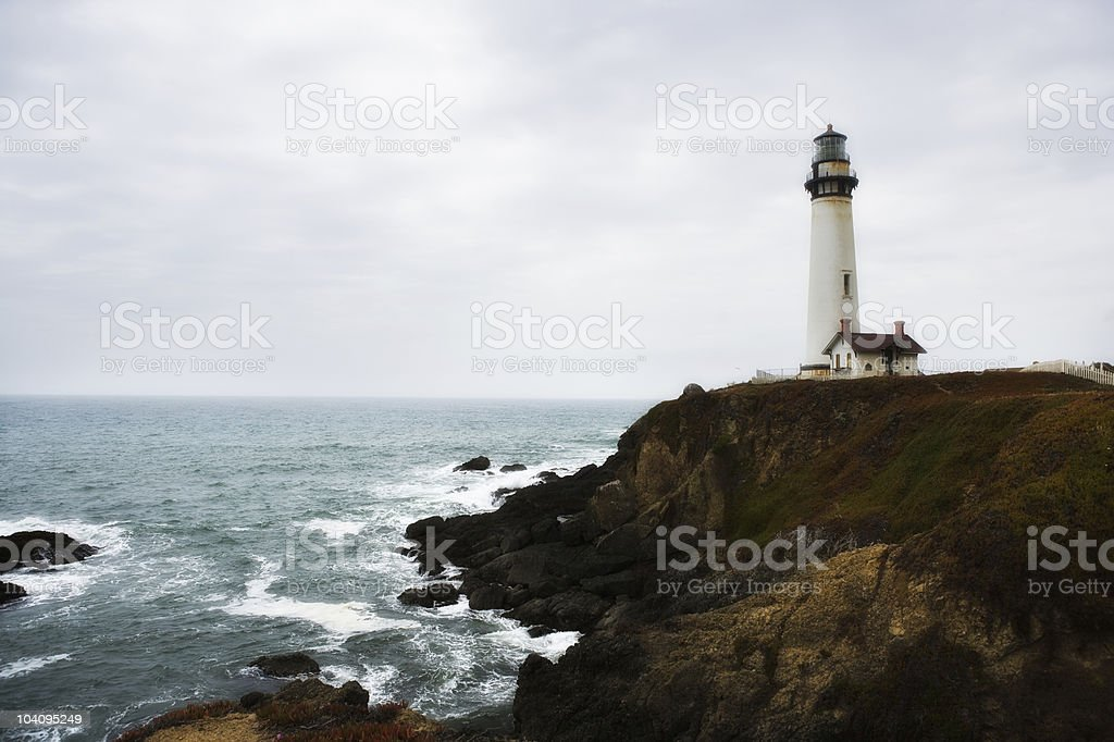 Old Lighthouse on a Cliff royalty-free stock photo
