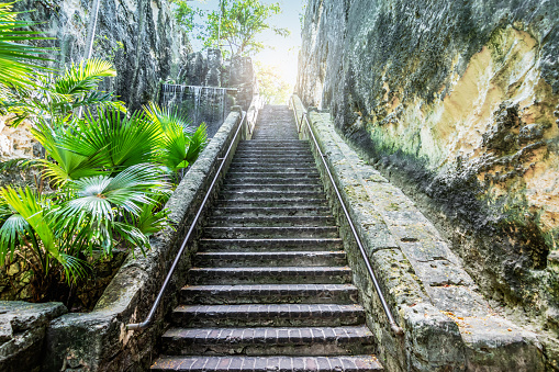 istock Old limestone staircase in Nassau, Bahamas. 1254862537
