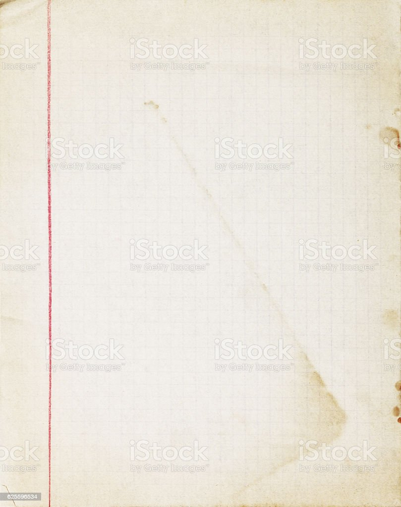 Old Lined School Paper Sheet With Margins Red Line Stock