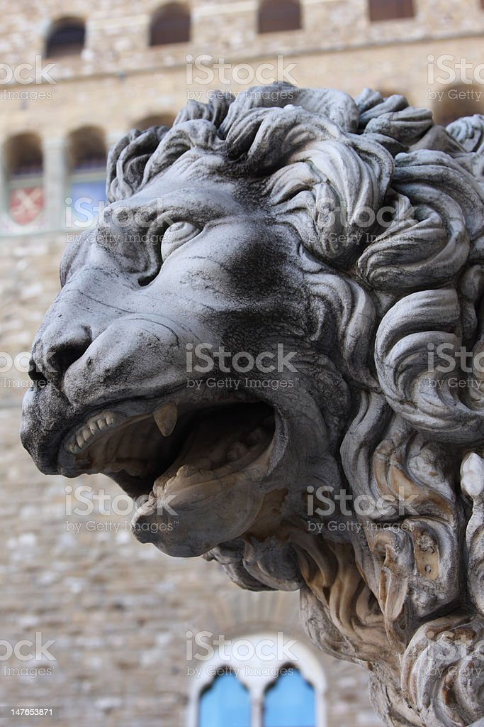 Old lion sculpture royalty-free stock photo