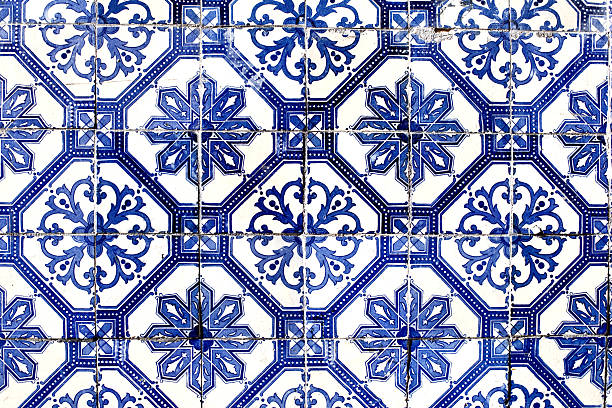 old lisbon tiles , azulejos - portugal stock photos and pictures