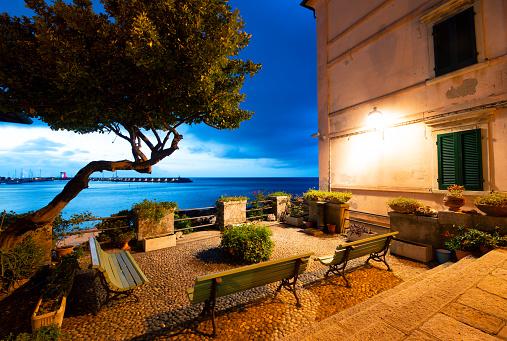 Old little square in Marciana Marina, Island of Elba, Tuscany, Italy