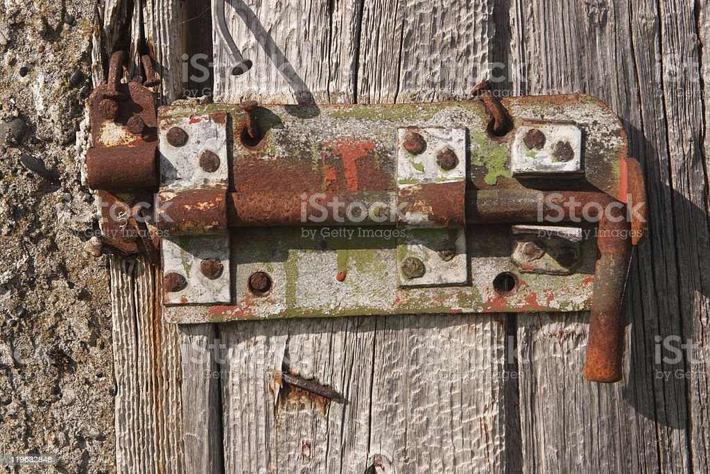 Old Lock On A Wood Door royalty-free stock photo