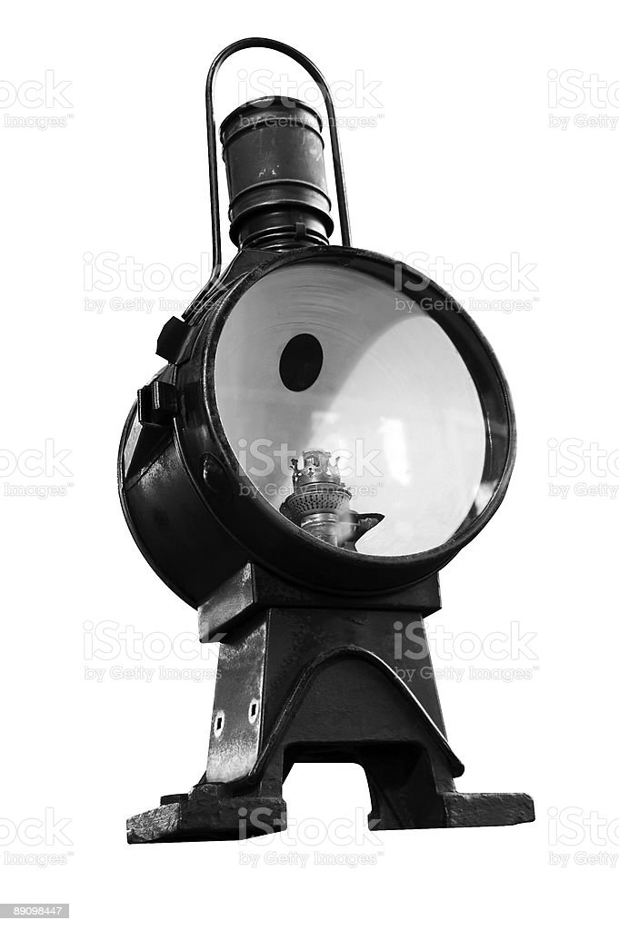 old loco floodlight B&W isolated royalty-free stock photo