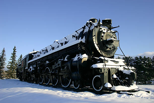 Old Locomotive in the Snow stock photo
