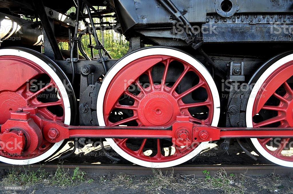 Stary Lokomotywa Czerwone koła – zdjęcie