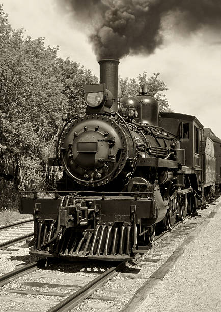 old locomotive sepia - industrial revolution stock pictures, royalty-free photos & images