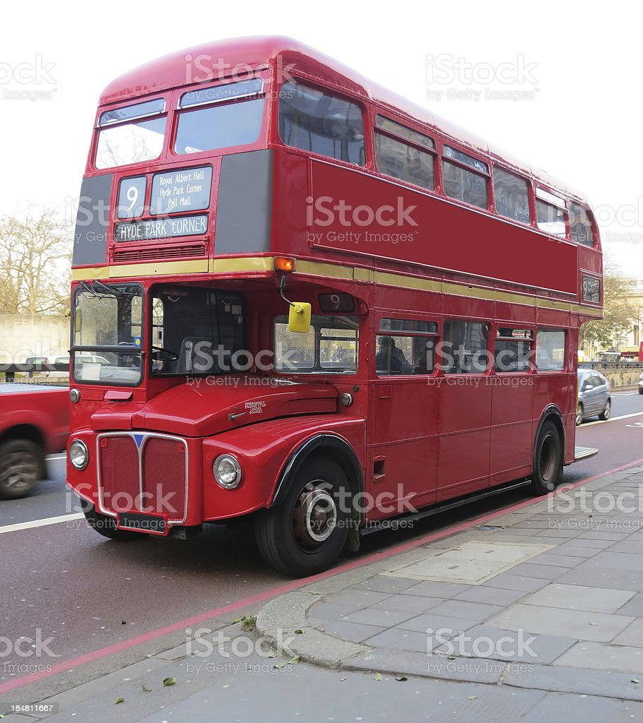 Old London red Double decker Bus stock photo