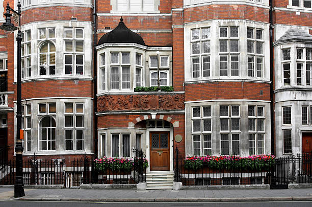 Old London Townhouses Elegant townhouses in the Mayfair district. mayfair stock pictures, royalty-free photos & images