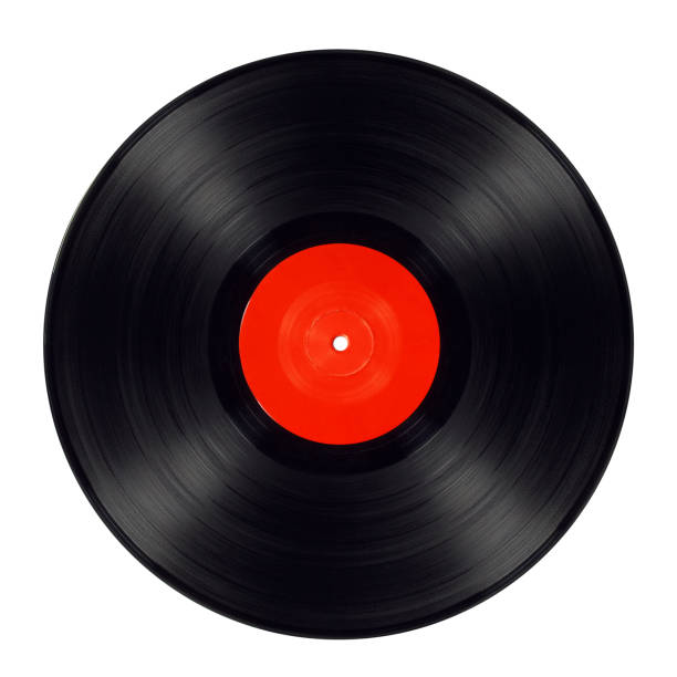 Old long play - clipping path Old black vinyl record isolated with red label album stock pictures, royalty-free photos & images