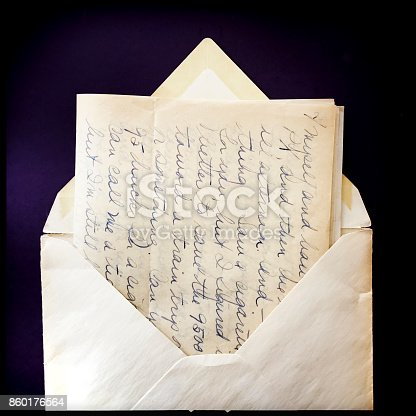 istock Old Love Letter and Envelope with Border 860176564
