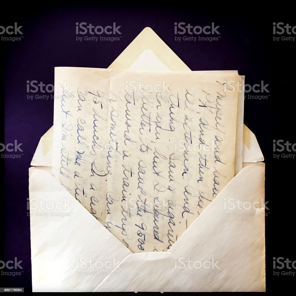 Old Love Letter and Envelope with Border stock photo
