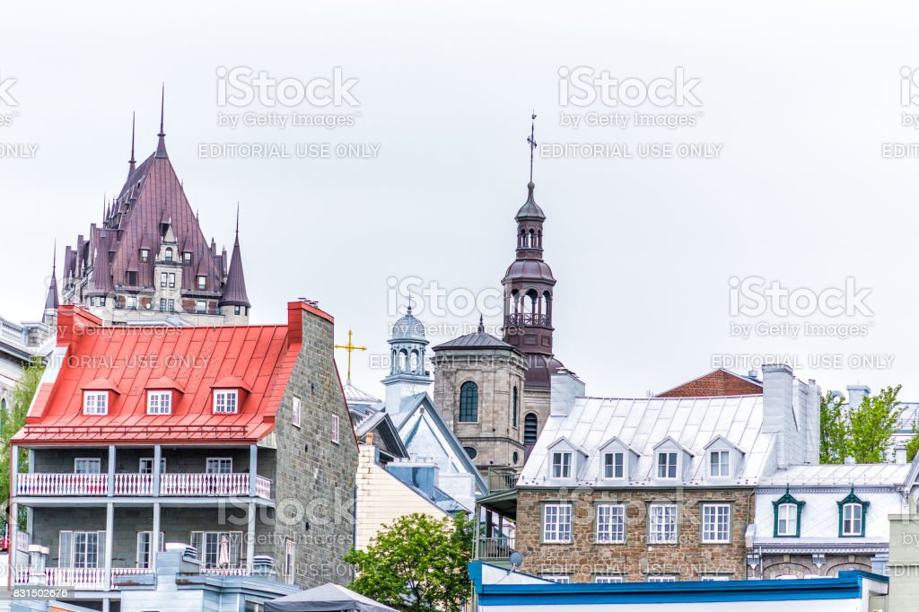 Old lower town area with cityscape view of Chateau Frontenac and colorful buildings stock photo